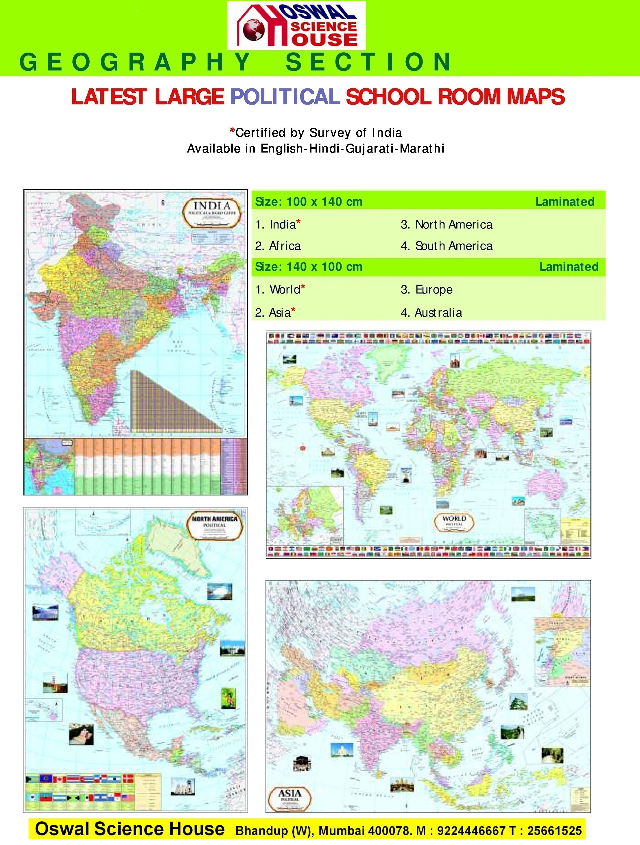 Oswal science house laminated charts large political maps gumiabroncs Choice Image